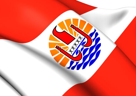 francaise: Flag of French Polynesia. Close Up.