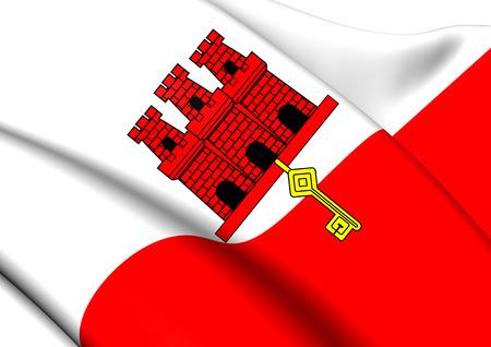 overseas: Flag of Gibraltar. Close Up.   Stock Photo