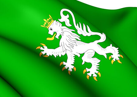 wallonie: Flag of Ittre, Belgium. Close Up.