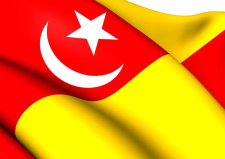 Flag of Selangor, Malaysia. Close Up.