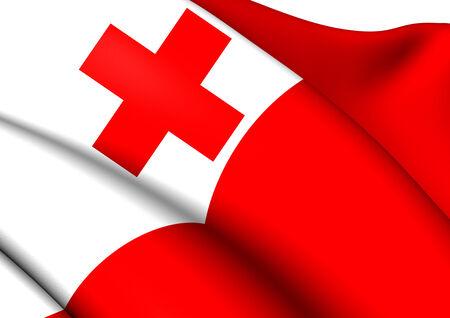 tonga: Flag of Tonga. Close Up. Stock Photo