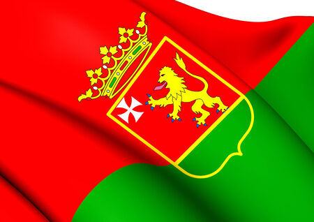 municipality: Flag of Llanes, Spain. Close Up.
