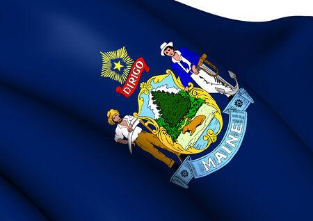 maine: Flag of Maine, USA. Close Up.