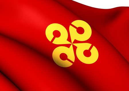 島根県の旗。クローズ アップ。 写真素材