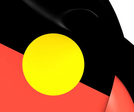 Australian Aboriginal Flag. Close Up. photo