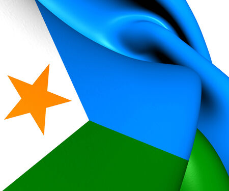 Flag of Djibouti. Close Up.    Stock Photo