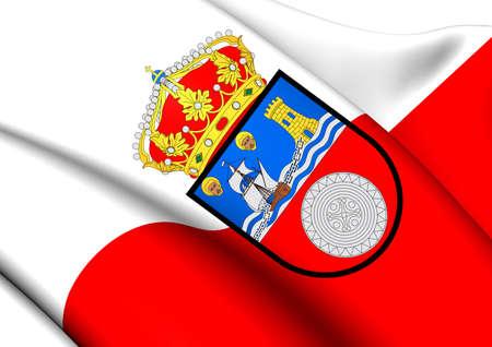spainish: Flag of Cantabria, Spain. Close Up.
