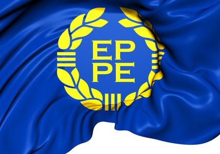 parliament: Flag of European Parliament (1973-1983). Close Up.   Stock Photo