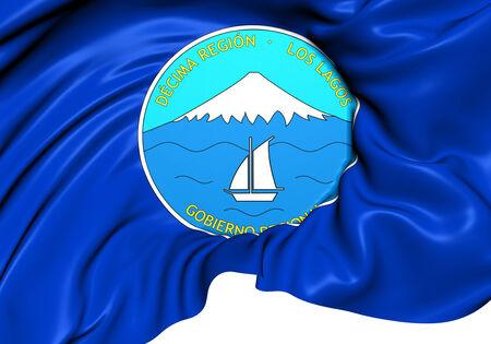 lagos: Flag of Los Lagos Region, Chile. Close Up.   Stock Photo