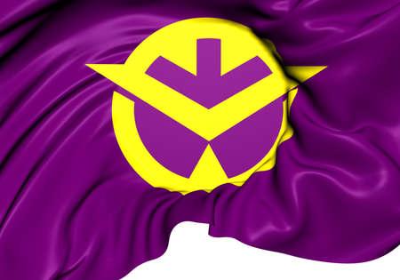 okayama: Flag of Okayama Prefecture, Japan. Close Up.