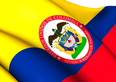 Sovereign State of Panama, 1863-1886 (Colombia) Flag. Close Up.    photo