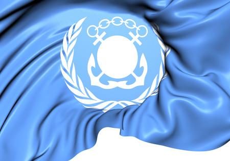 Flag of International Maritime Organization (IMO). Close Up.