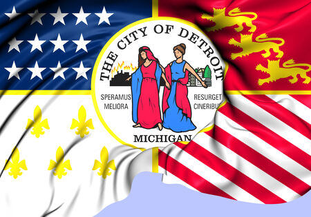 detroit: Flag of Detroit, USA. Close Up.