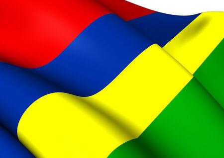 mauritius: Flag of Mauritius. Close Up.   Stock Photo