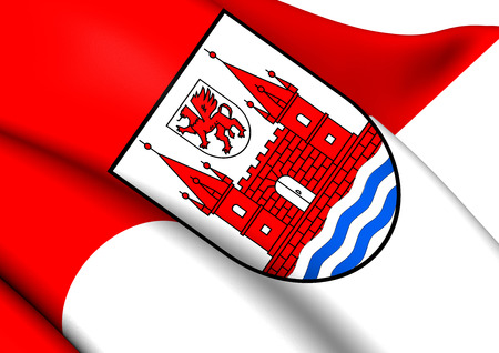 Flag of Schwedt, Germany. Close Up.    photo