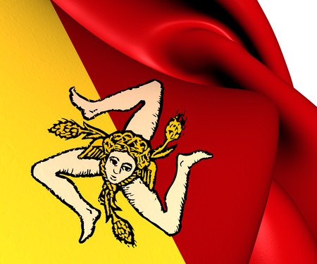 region sicilian: Flag of Sicily, Italy. Close Up.