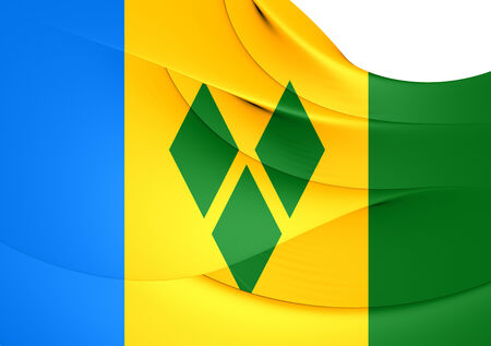 grenadines: Flag of Saint Vincent and the Grenadines. Stock Photo