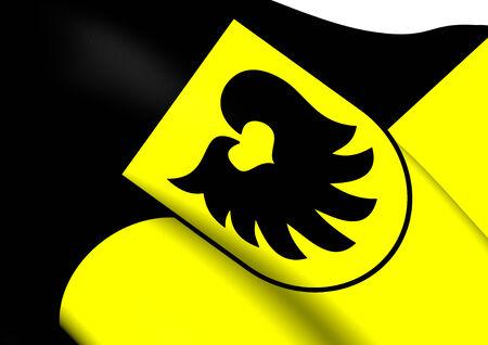 tirol: Flag of Aldrans, Austria. Close Up.    Stock Photo