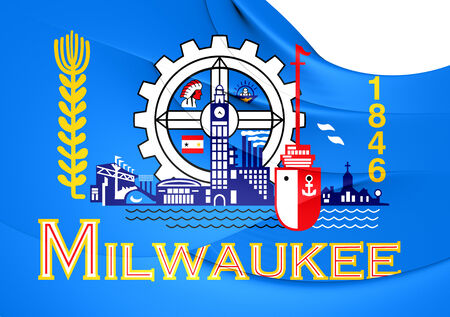 milwaukee: Flag of Milwaukee, USA. Close Up.
