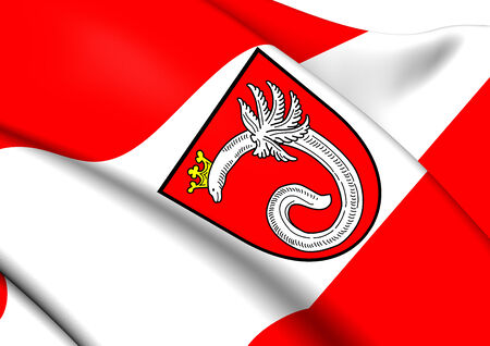 munster: Flag of Ahlen, Germany. Close Up.    Stock Photo