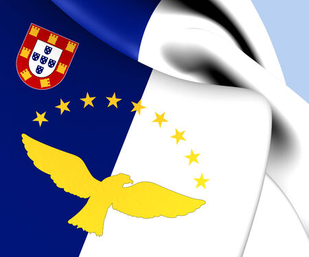 azores: Flag of Azores, Portugal. Close Up.    Stock Photo