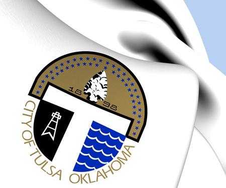 Flag of Tulsa, USA. Close Up.