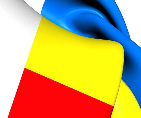 oblast: Flag of Rostov Oblast, Russia. Close Up.