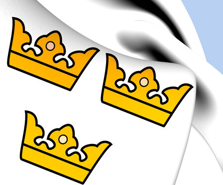 realm: Three Crowns. National Emblem of Sweden Stock Photo
