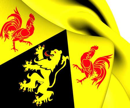 Flag of Walloon Brabant, Belgium. Close Up.