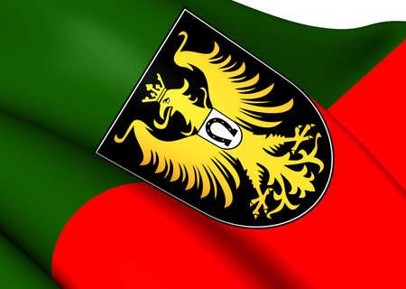 allgau: Flag of Isny im Allgau, Germany. Close Up.