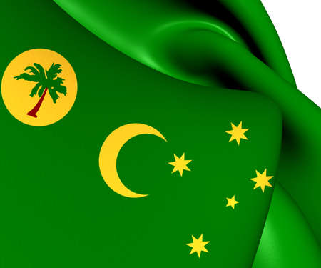 cocos: Flag of Cocos Islands. Close Up.    Stock Photo