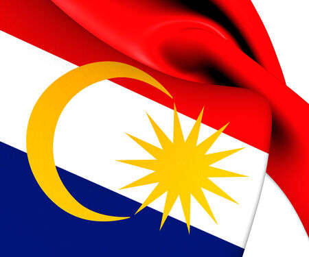 Flag of Labuan, Malaysia. Close Up.    photo