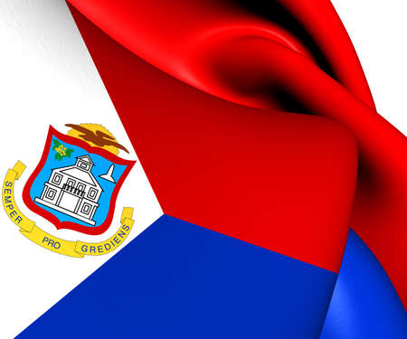 sint: Flag of Sint Maarten. Close Up.