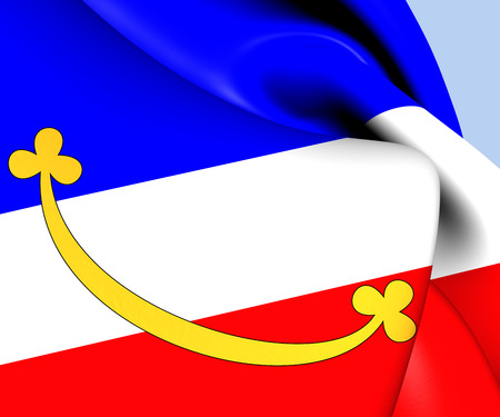 Flag of Dolni Bousov, Czech Republic. Close Up.    photo