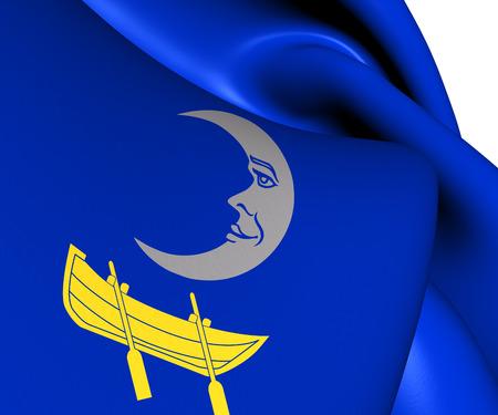 sverige: Flag of Trosa Municipality, Sweden. Close Up.