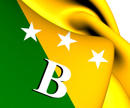 panamanian: Flag of Bocas del Toro, Panama. Close Up. Stock Photo
