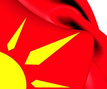 selo: Flag of Novo Selo, Macedonia. Close Up.    Stock Photo