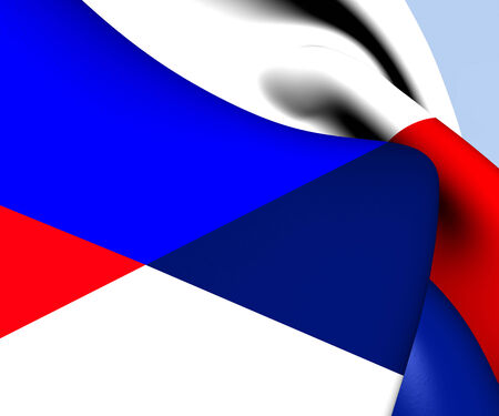 Flag of Serbia and Russia. Close Up. photo