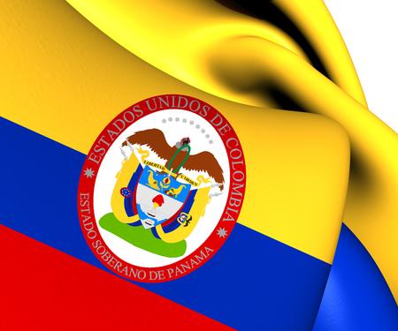 bandera panama: Estado Soberano de Panam�, 1863-1886 (Colombia) Bandera. Close Up. Foto de archivo