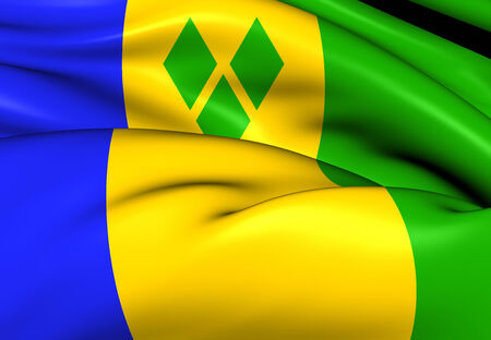 grenadines: Flag of Saint Vincent and the Grenadines. Close Up. Stock Photo