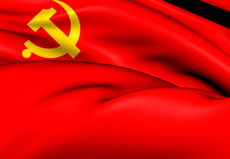 Flag of the Chinese Communist Party. Close Up.