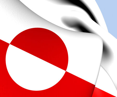 greenlandic: Flag of Greenland. Close Up.   Stock Photo