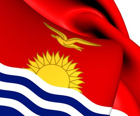 kiribati: Flag of Kiribati. Close Up.