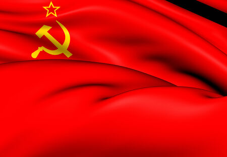 communistic: Flag of the Soviet Union. Close Up.