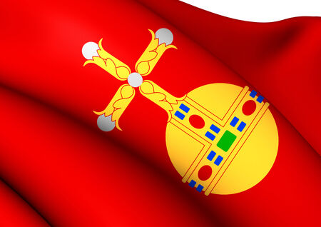 upsala: Flag of Uppsala, Sweden. Close Up.
