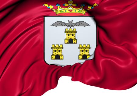 provincial: Flag of Albacete City, Spain. Close Up.