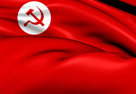 Flag of Revolutionary Socialist Party. Close Up.