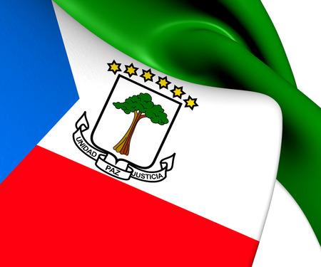 equatorial: Flag of Equatorial Guinea. Close Up.