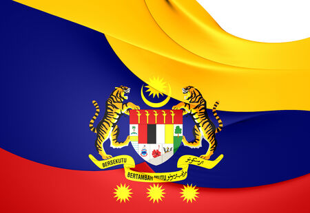 territories: Flag of Federal Territories (Malaysia). Close Up.    Stock Photo