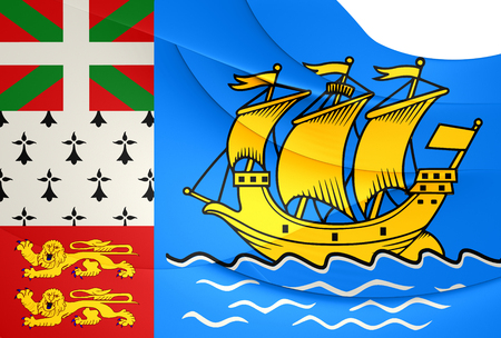 collectivity: Flag of Saint Pierre and Miquelon, France. Close Up.